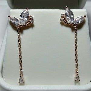 925SS Simulate Diamond butterfly dangling earrings